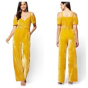New York & Co Yellow Velvet Cold Shoulder Jumpsuit